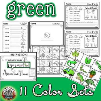 Color Words: GREEN {sight words, simple sentences, vocabul