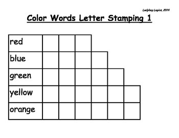 Color Words Letter Stamping
