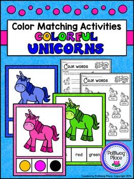 Color Words Matching Activity Set - Colorful Unicorns