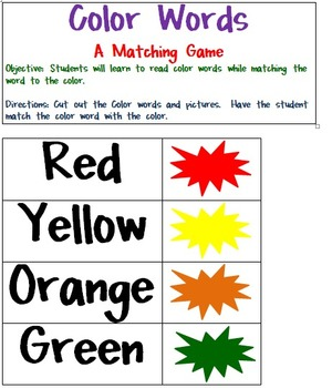 Color Words Matching Game