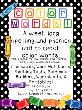 Color Words! Spelling and Phonics Worksheets and Printables
