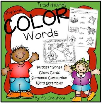 Color Words Activities for Kindergarten * Songs * Matching