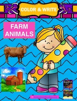 Color & Write Farm Animals (pig, horse, sheep, cow, chicken)