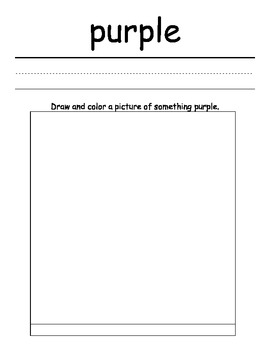 Color Writing and Drawing Worksheets