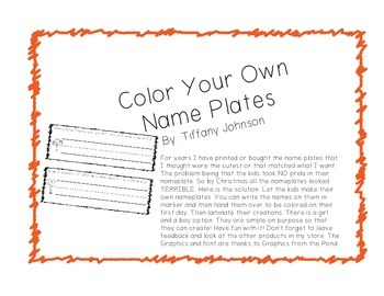Color Your Own Nameplate