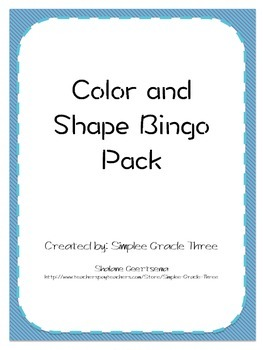 Color and Shape Bingo - 20 cards!