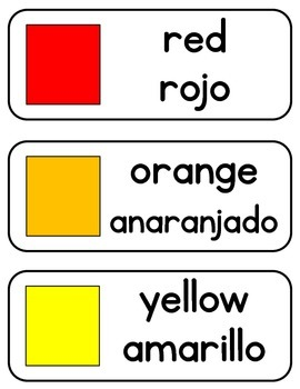 Color and Shape Cards in English and Spanish