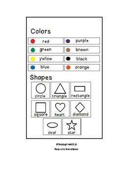 Color and Shape Sheet