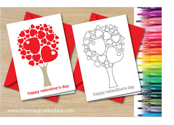 Color and  make a Tree of Hearts Valentines Day Card