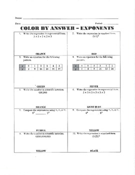 Color by Answer - Exponents