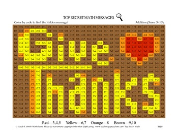 Color by Code Thanksgiving Give Thanks Addition Sums 3-10