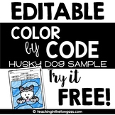EDITABLE Color by Code Iditarod Winter Activity Free