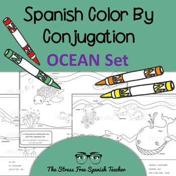 Color by Conjugation, Spanish, 3 Activities: Present Tense