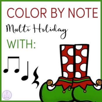 Color by Note Holiday (Christmas, Hanukkah, and Kwanzaa)