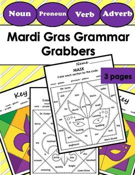 Color by Number Grammar Mosiac (Parts of Speech) - Mardi Gras