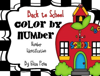 Color by Number: Number Identification - Back to School