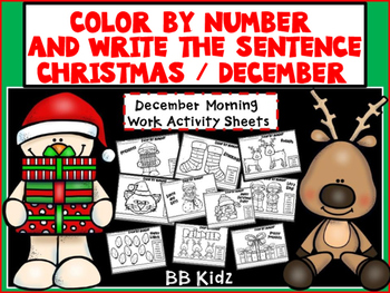 Christmas Color by Number with Sentence Writing {Morning W