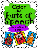 Back to School Color by Parts of Speech