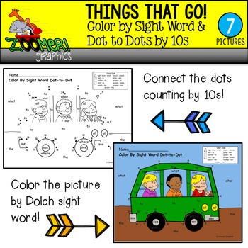 Color by Sight Word Dot to Dots by 10s