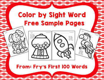 Color by Sight Word Free Sample Pages, Fry's First 100