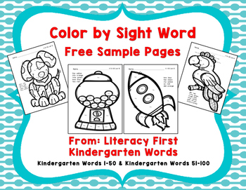 Color by Sight Word Free Sample Pages, Literacy First Kind