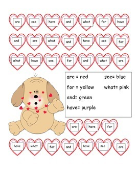 Color by Sight Word Valentine's Day