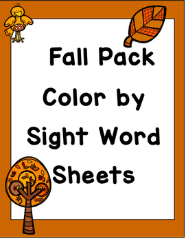 Color by Sight Words Fall Pack