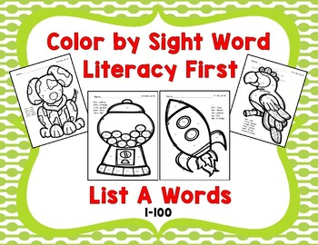 Color by Sight Words, Literacy First List A