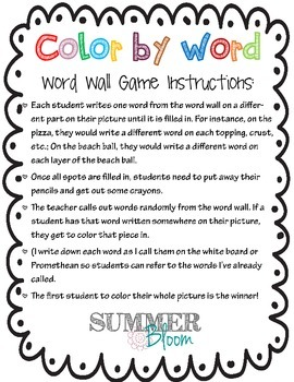 Color by Word Wall Packet