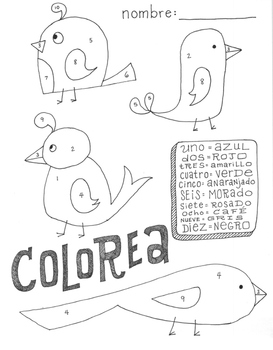 Color by number ~Spanish numbers ~Spanish colors NO PREP ~