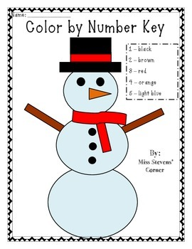 Color by number snowman