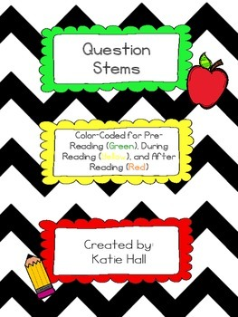 Color-coded Question Stems for Pre-Reading, During Reading