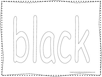 """Color collage spelling.  Spell and color the word """"black""""."""