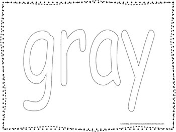"""Color collage spelling.  Spell and color the word """"gray""""."""