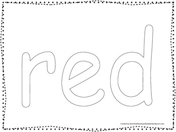 """Color collage spelling.  Spell and color the word """"red"""". P"""