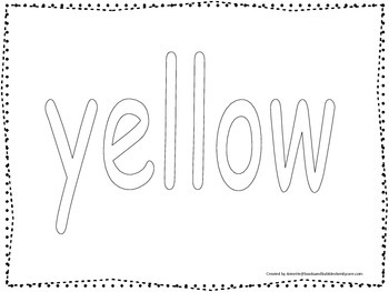 "Color collage spelling.  Spell and color the word ""yellow"""