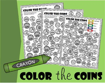 Color the Coins Money Worksheet