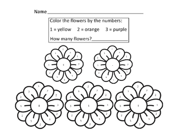 Color the Flower by Numbers 1 2 3 Yellow Orange Purple 1page