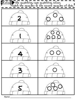 Freebie Math Number Sense:Color the Matching Cap 1-10 Numb
