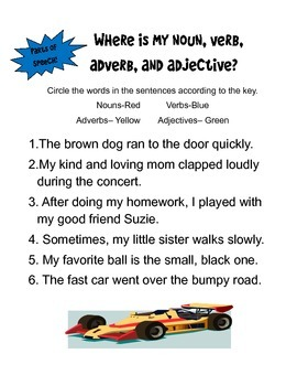 Color the Nouns, Verbs, Adverbs, and Adjectives!