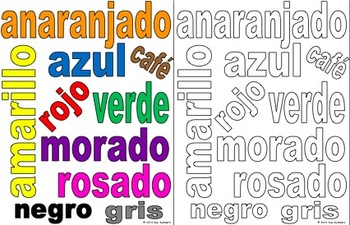 Spanish Colors Class Sign and Coloring Activity