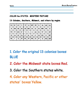 Color the States: Mystery Picture