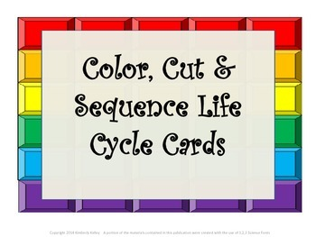 Color,Cut & Sequence Life Cycle Cards-butterfly, frog, lad