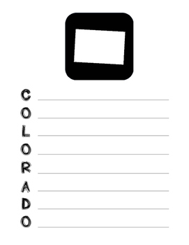 Colorado State Acrostic Poem Template, Project, Activity,