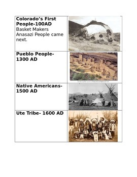 Colorado History Timeline Cut and Paste