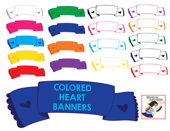 Colored Banners With Little Hearts - 18 PNG Files
