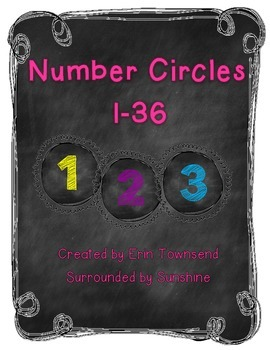 Colored Chalkboard Number Circles 1-36