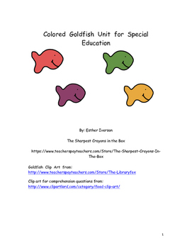 Colored Fish Unit for Special Education