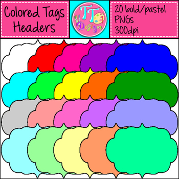Colored Headers/Frames/Labels Bold and Pastel Clip Art CU OK