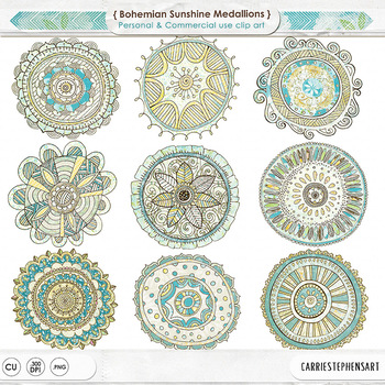 Colored Mandala ClipArt, Circle Medallion Clip Art, Design Accent